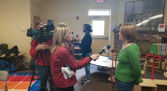 Mackenzie and Shyteze being interviewed by local news stations